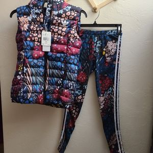 Adidas floral vest and Leggings set